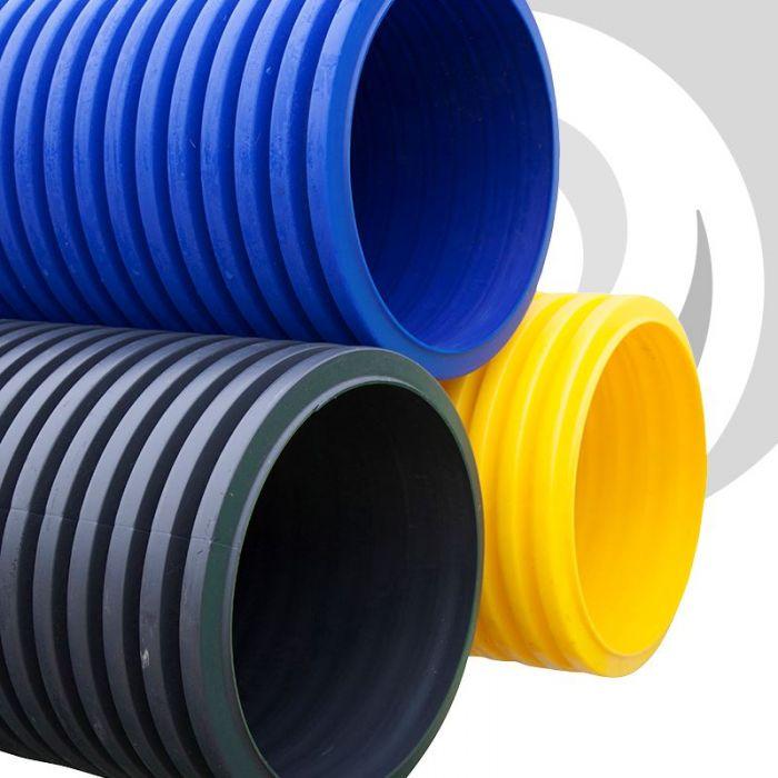 225mm Twinwall Blue / Water Ducting x 6m & 225mm ID Twinwall Duct x6m; Blue | Drainfast Ltd
